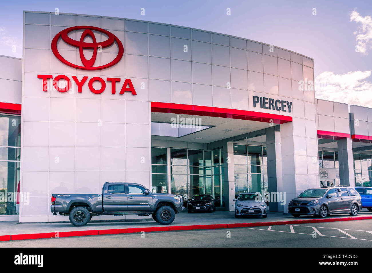 Milpitas, CA / USA - March 26, 2019: Toyota Motor Corporation the world's second-largest automotive manufacturer of vehicles under 5 brands - Stock Image