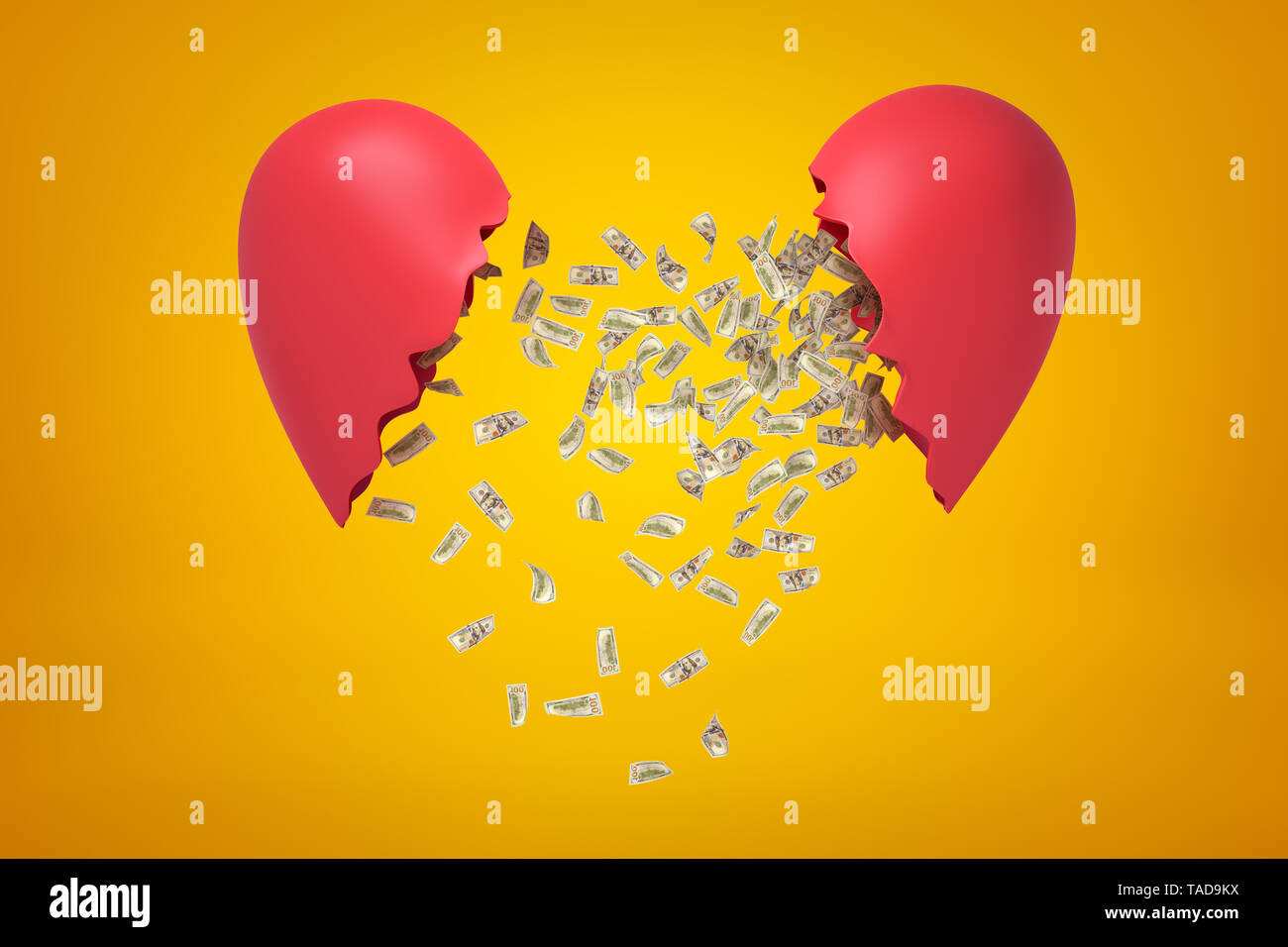 3d rendering of silver gear wheels falling between two red broken heart pieces on yellow background. Digital art. Objects and materials. Concept ideas - Stock Image