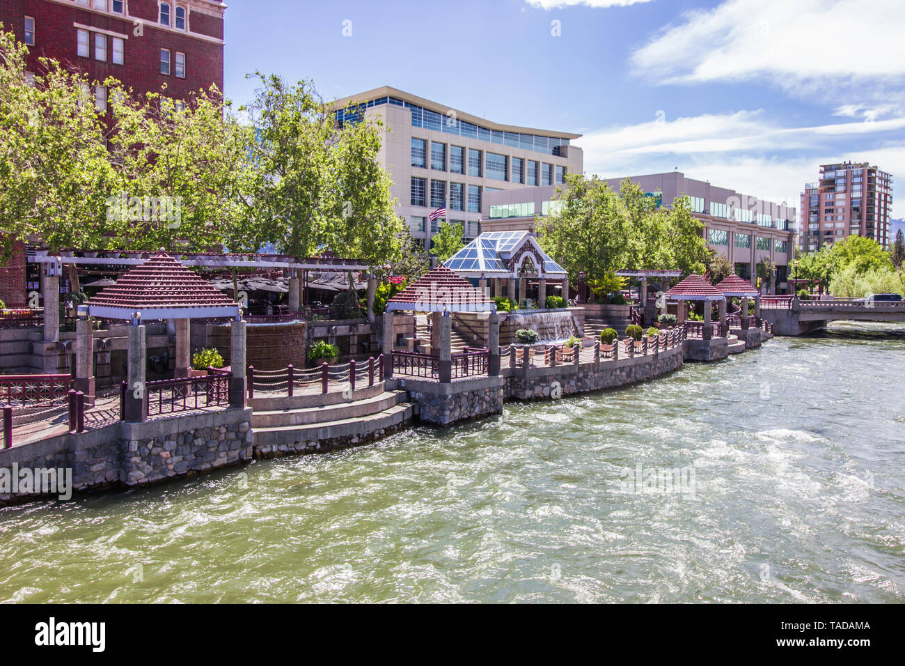 Modern Pavilions Along Truckee River Walk In Reno - Stock Image