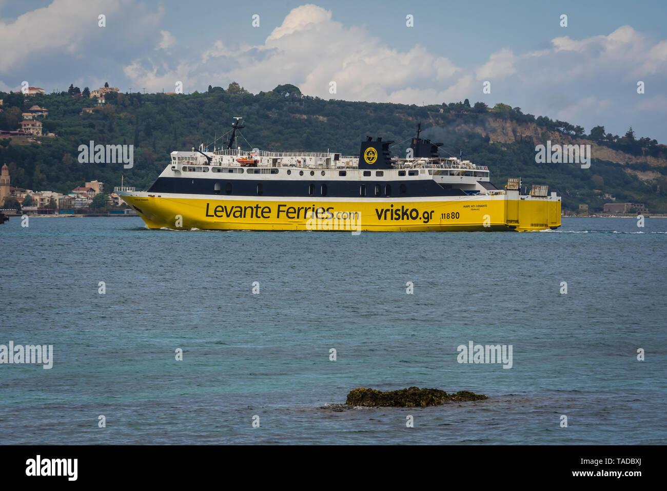 Zakynthos, Greece -  April 2019 : Large passenger ferry boat approaching Zakynthos Port, Zante Island, Ionian islands - Stock Image
