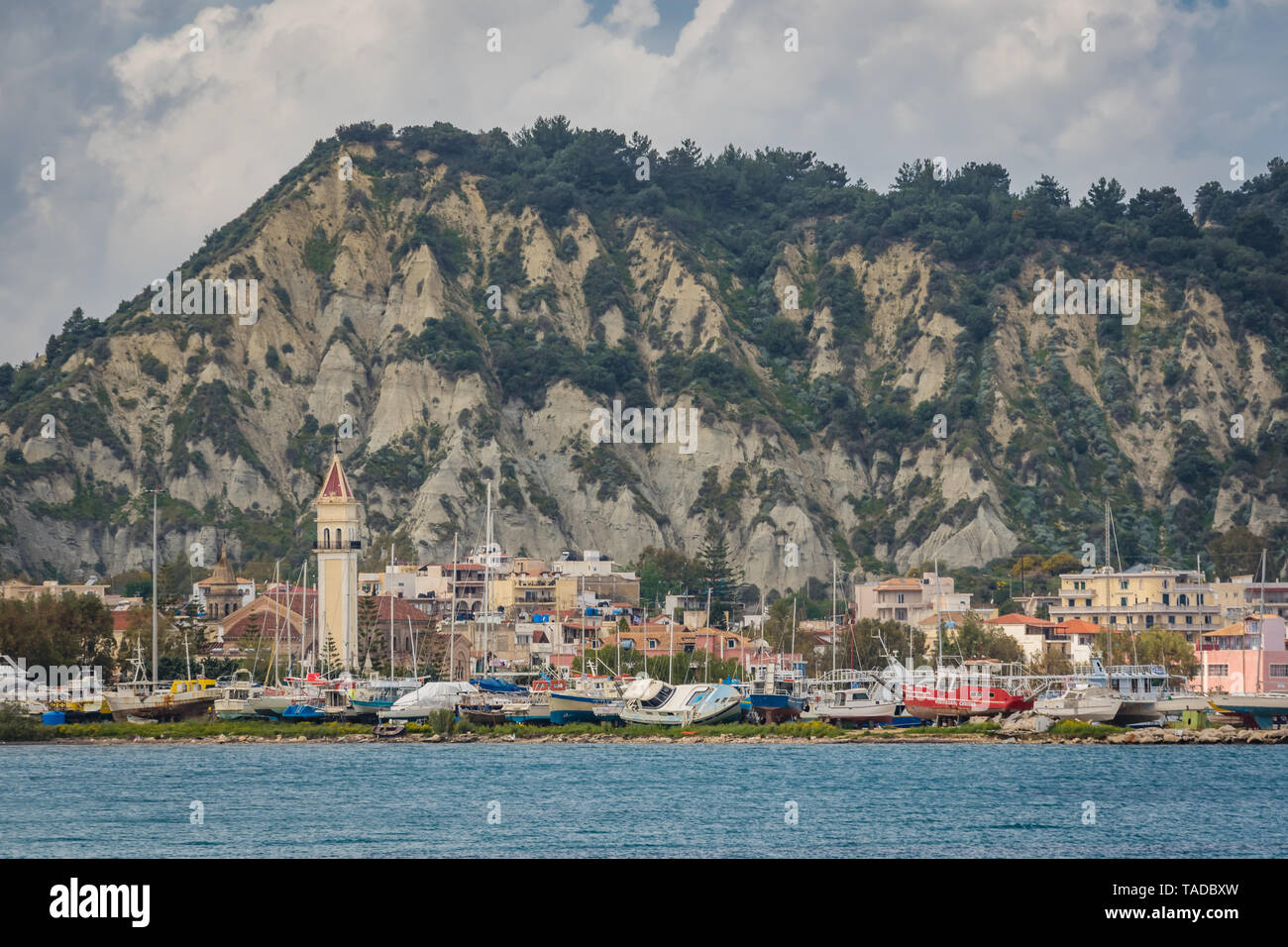 Zakynthos, Greece -  April 2019 : Zakynthos Town as seen from the sea, Zante Island, Ionian islands - Stock Image