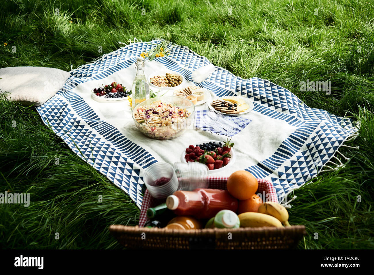 Healthy picnic snacks on a blanket in grass - Stock Image