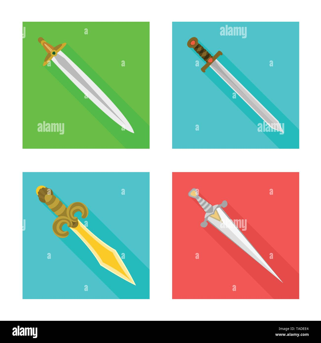 Isolated object of  and sword  icon. Set of  and knife  vector icon for stock. - Stock Image