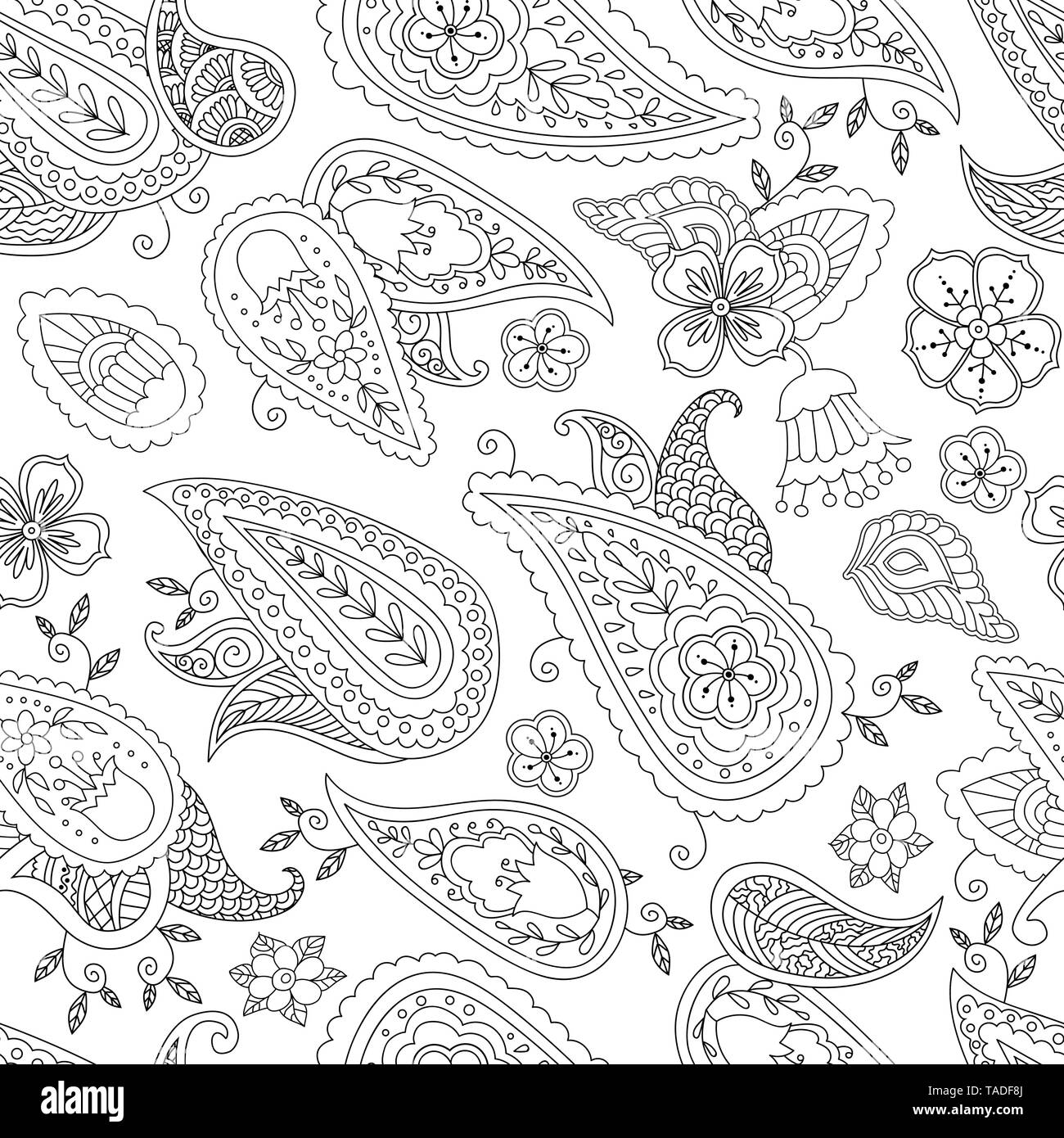 Abstract Hand Drawn Outline Doodle Ornament Seamless Pattern With Flowers And Paisley Coloring Book For Adult And Older Children Stock Vector Image Art Alamy