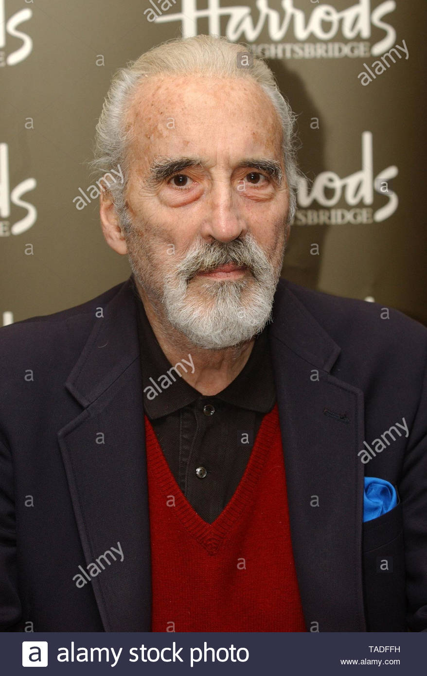 File photo dated 05/10/04 of actor Christopher Lee whose photographic archive has been donated to the British Film Institute (BFI), the organisation has announced. - Stock Image