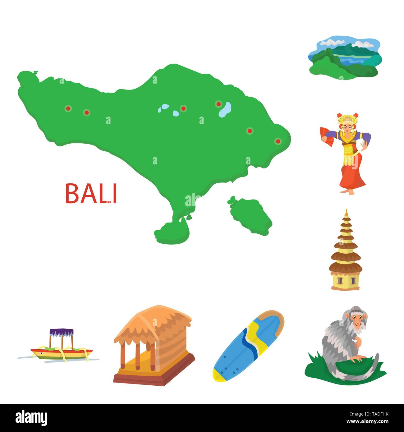 Vector illustration of bali and indonesia icon. Set of bali and caribbean vector icon for stock. - Stock Image