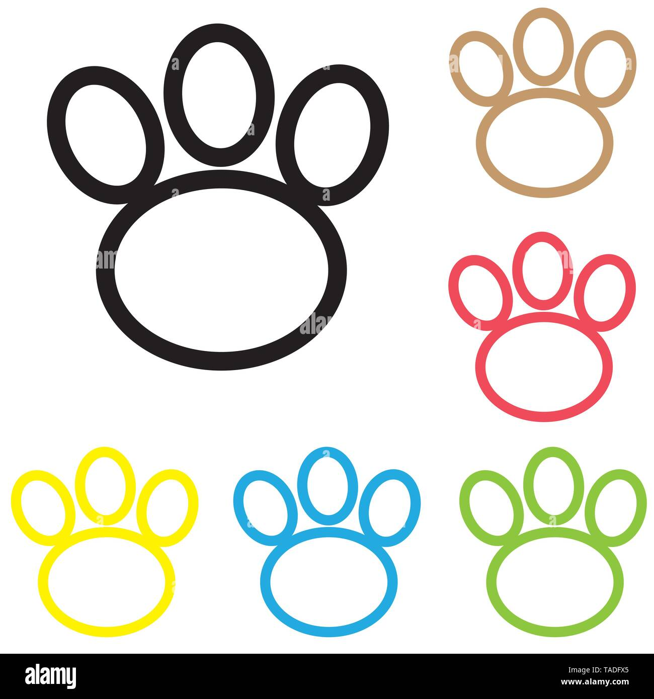 Animal paw icon print line vector foot dog cat illustration. colour line dog paw. - Stock Image