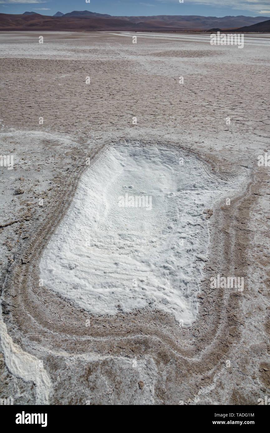 Salt lake in Atacama desert region, Chile - Stock Image
