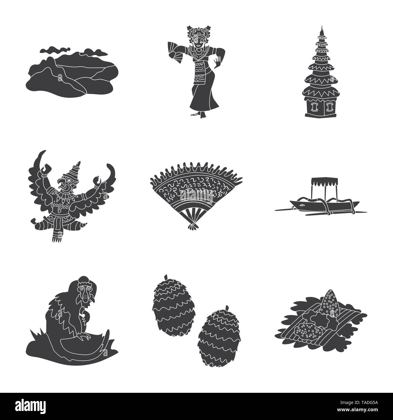Vector design of  and traditional icon. Collection of  and bali stock symbol for web. - Stock Image