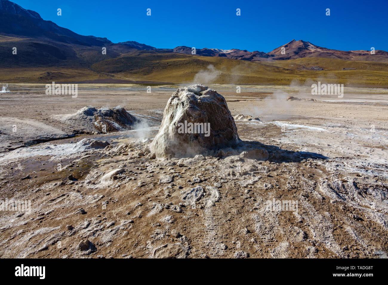 Active Geyser detailed view in El Tatio, Atacama, Chile - Stock Image