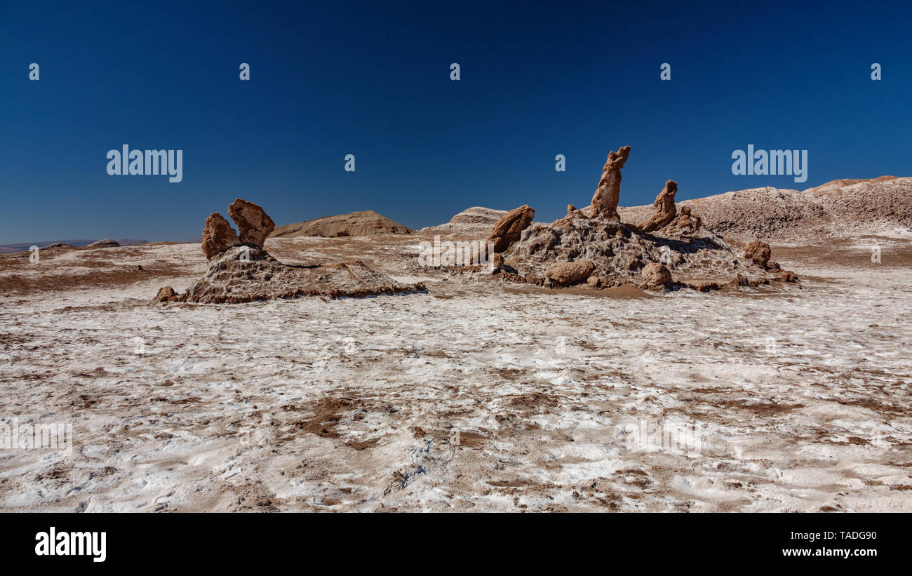 Las Tres Marias (Three Marys) formation in the Moon Valley - Stock Image