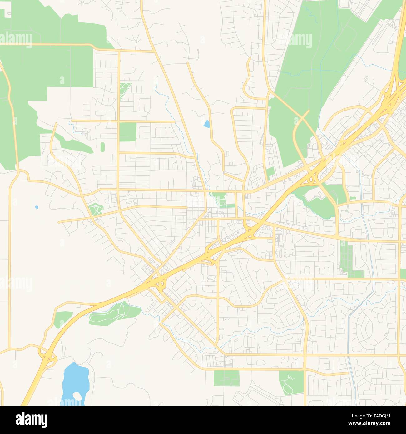 Map Of California Vacaville.Empty Vector Map Of Vacaville California Usa Printable Road Map
