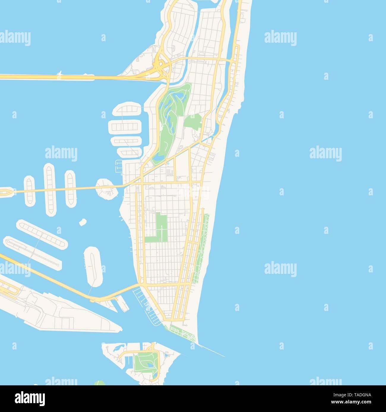 Empty vector map of Miami Beach, Florida, USA, printable ...
