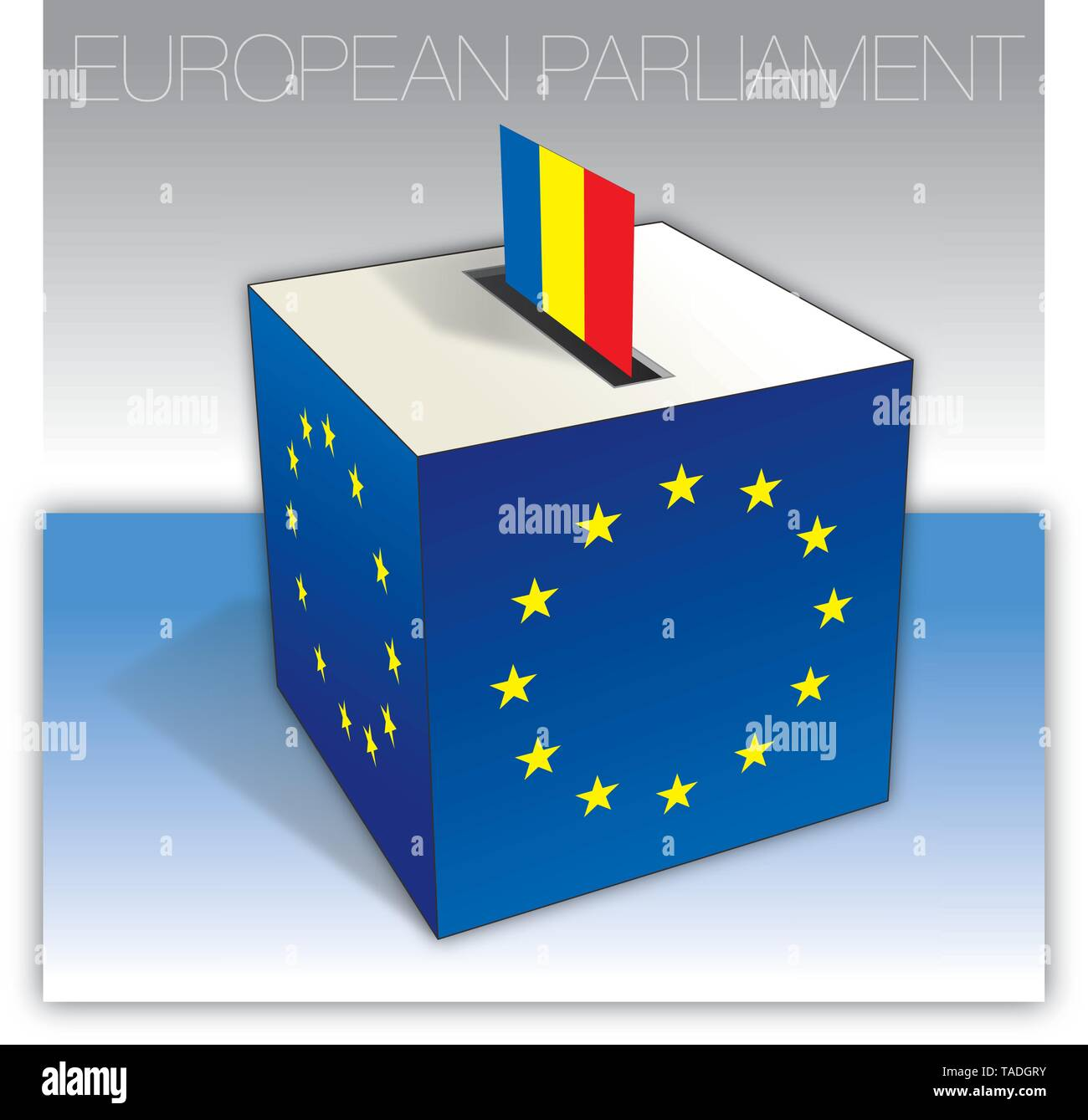Romania voting box, European parliament elections, flag and national symbols, vector illustration - Stock Image