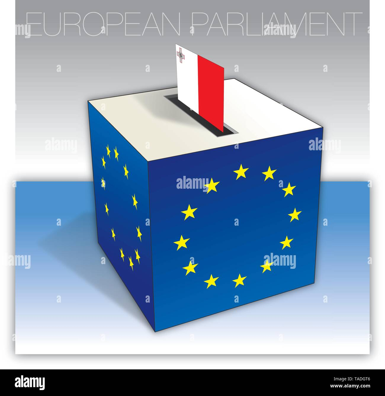 Malta voting box, European parliament elections, flag and national symbols, vector illustration - Stock Image