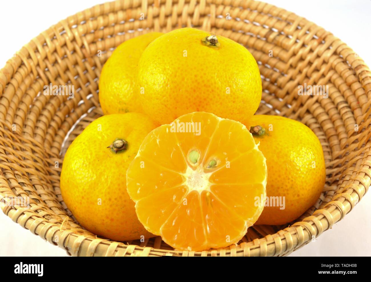 small chinese orange mandarin in basket isolated on white background - Stock Image
