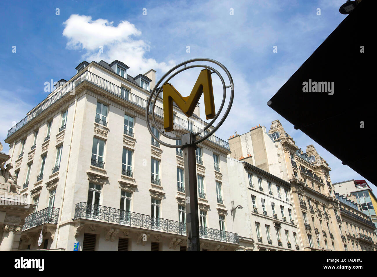 "Paris (France): facade of Parisian buildings and Paris Metro sign in the street Òrue Saint-Lazare"", 9th arrondissement (district) *** Local Caption ** Stock Photo"