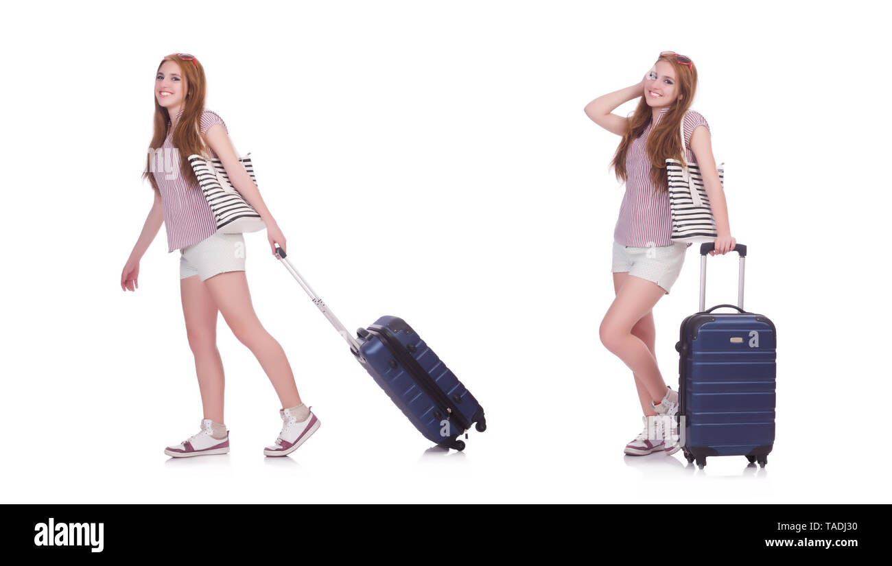 Young girl travelling isolated on the white - Stock Image