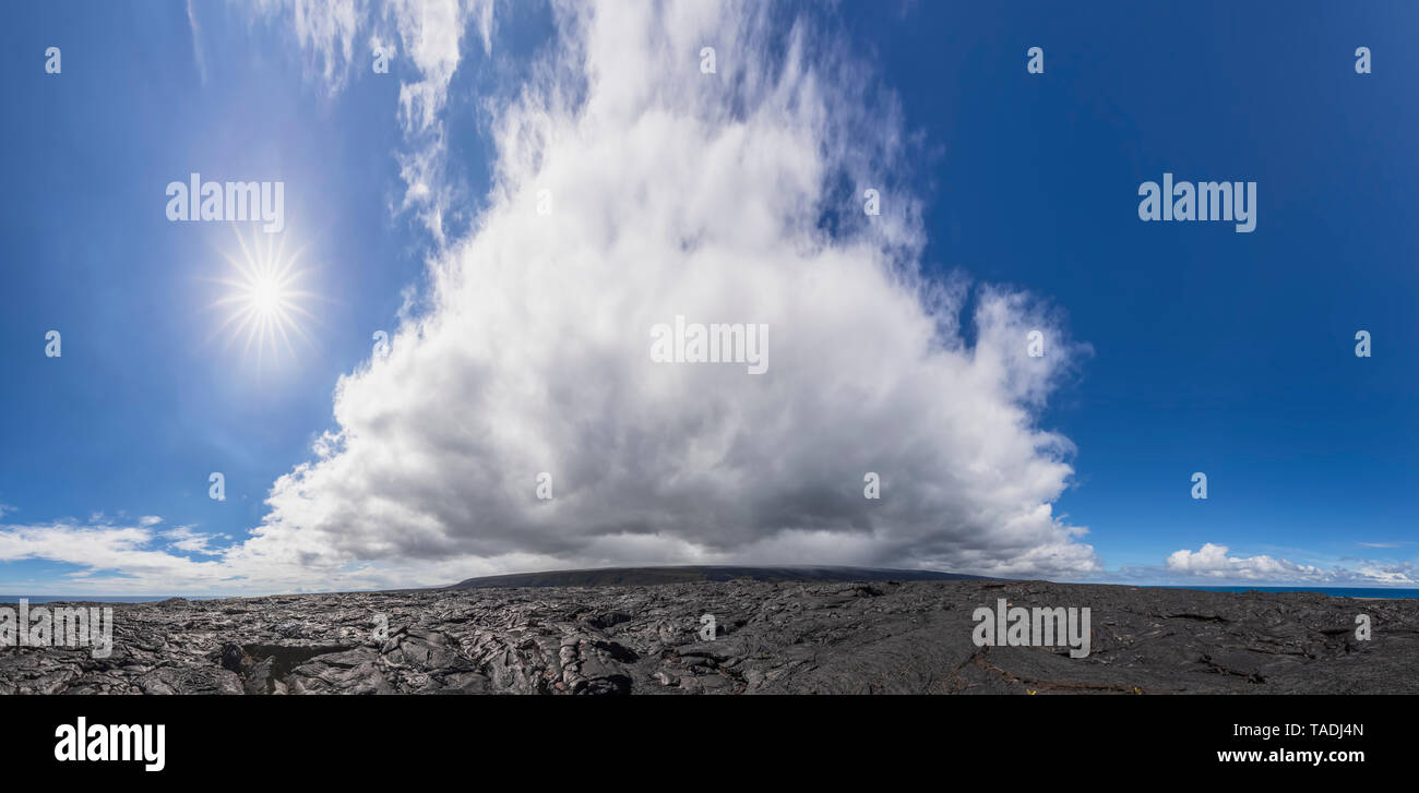 USA, Hawaii, Big Island, Volcanoes National Park, Ka Lae Apuki, lava fields - Stock Image