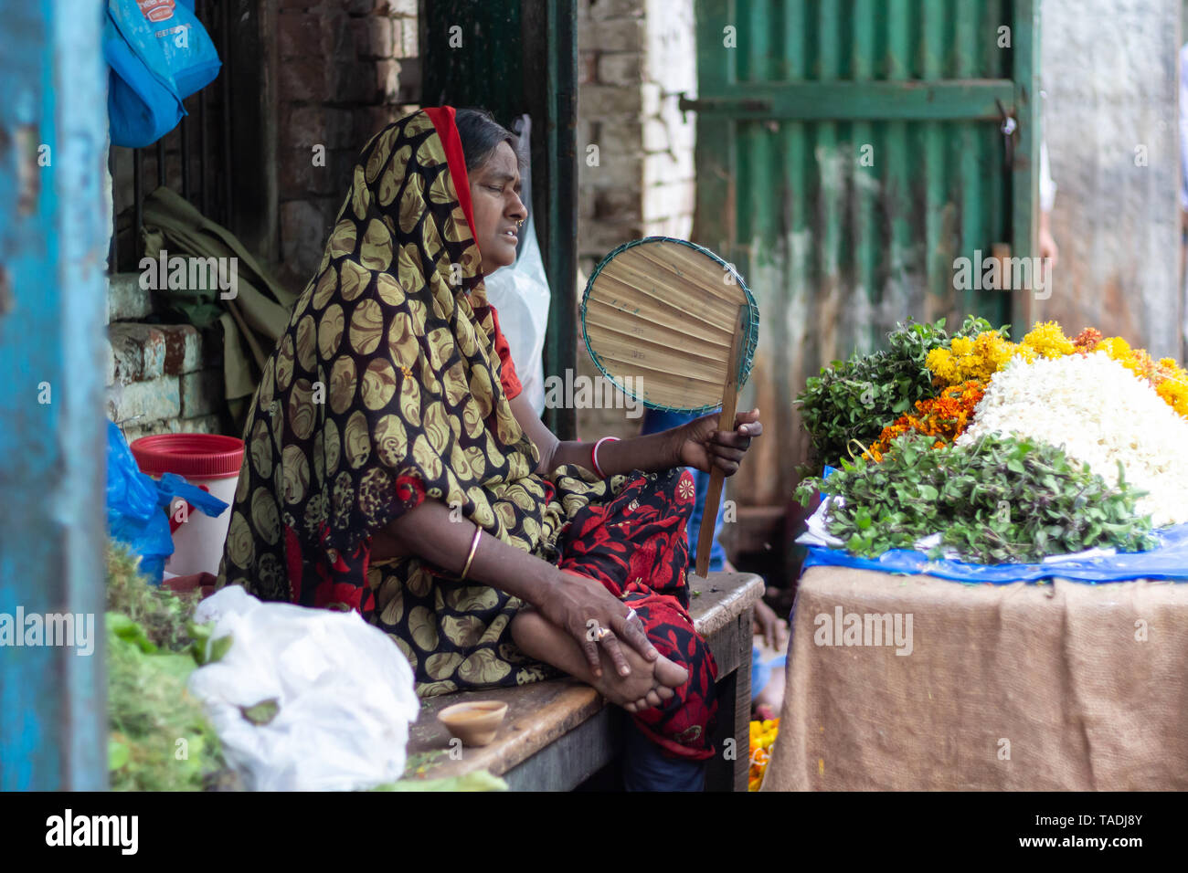 Old Indian woman expressing distress from high temperatures fanning herself in the market selling plants and flowers. Stock Photo