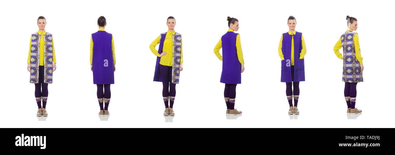 Pretty caucasian model in purple vest isolated on white - Stock Image