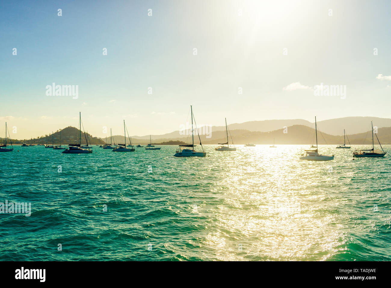 Australia, Queensland, Airlie Beach, landscape with boats at sunset - Stock Image