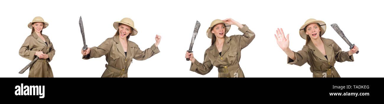 Woman wearing safari hat on white - Stock Image