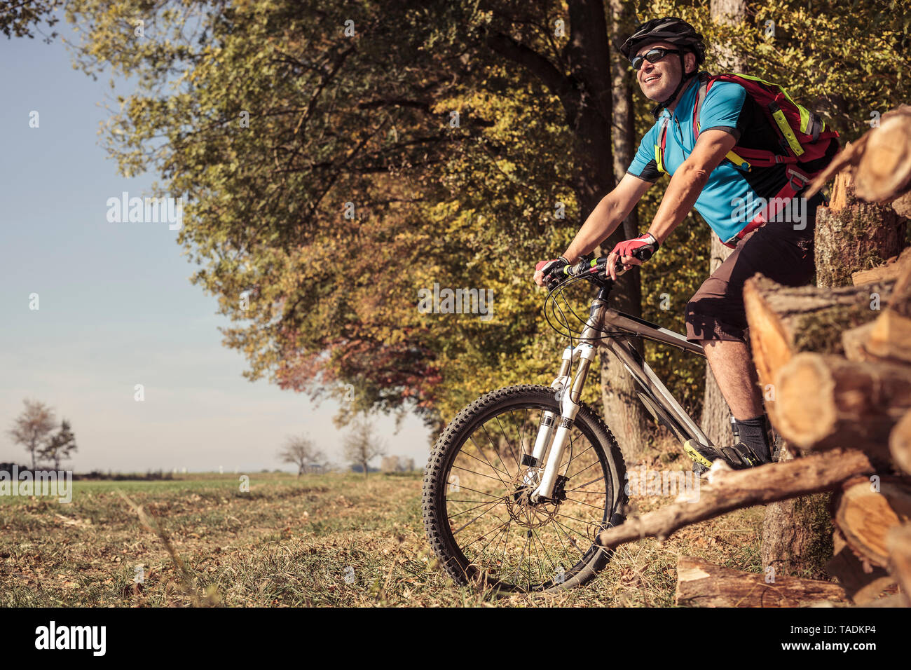 Man with mountainbike on path by the forest - Stock Image