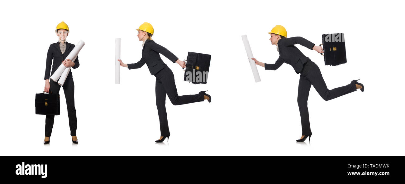 Woman  engineer with draft papers - Stock Image
