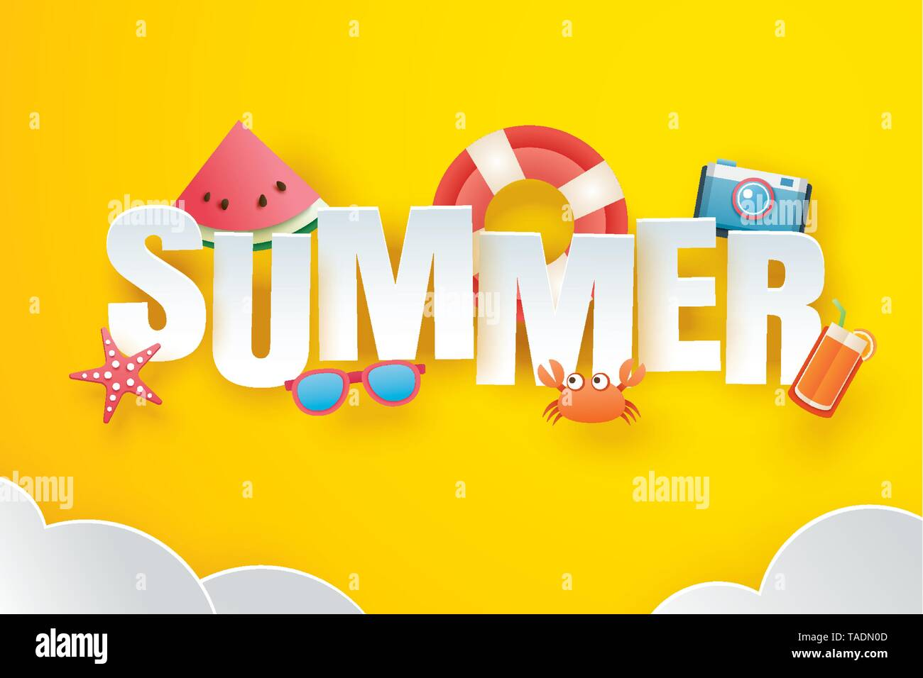 Hello summer with decoration origami on the sky yellow background. Paper art and craft style. Vector illustration of life ring, camera, watermelon, su - Stock Image