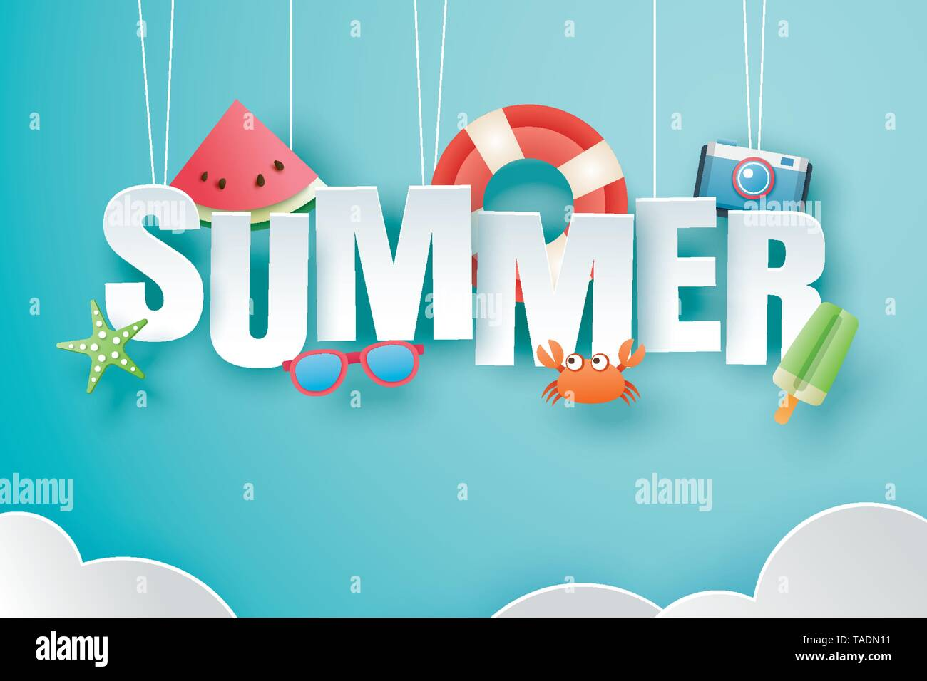 Hello summer with decoration origami hanging on blue sky background. Paper art and craft style. Vector illustration of life ring, ice cream, camera, w - Stock Image