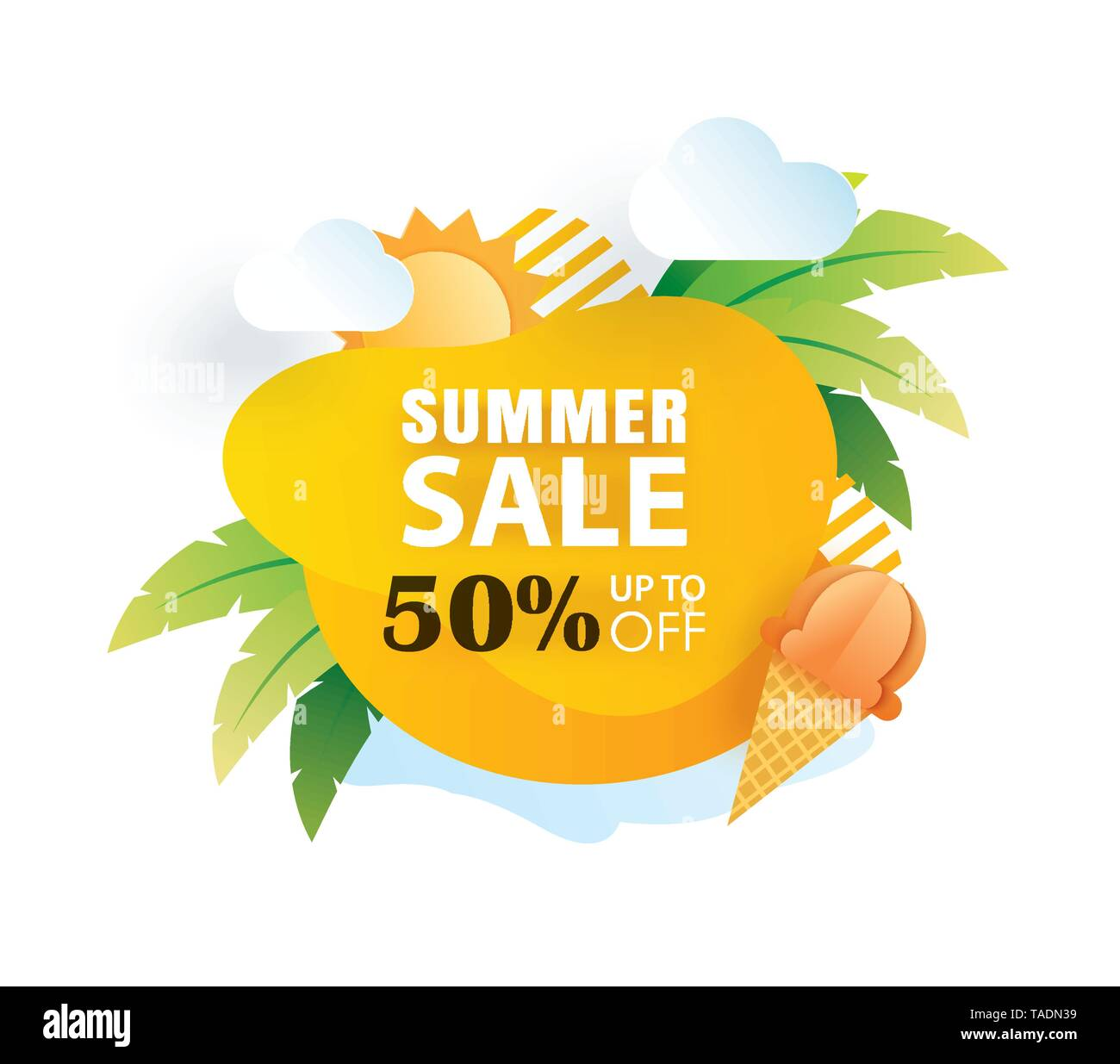 Summer sale banner paper cut template. Yellow abstract geometric. Use for poster, sticker, badge, ads, tag. - Stock Image