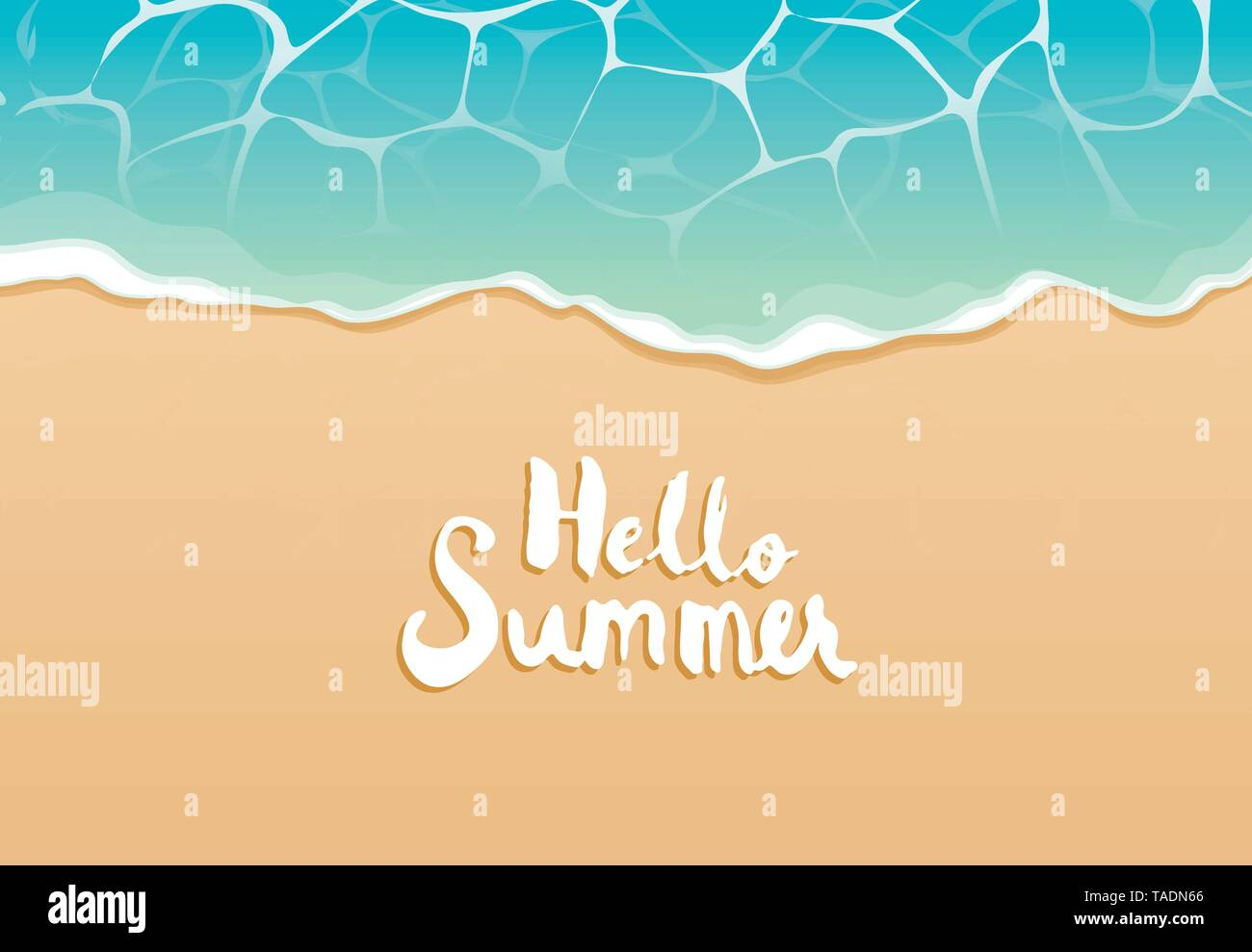 Hello summer beach top view travel and vacation background. Use for banner template, greeting card, invitation, sea and sand poster. - Stock Image