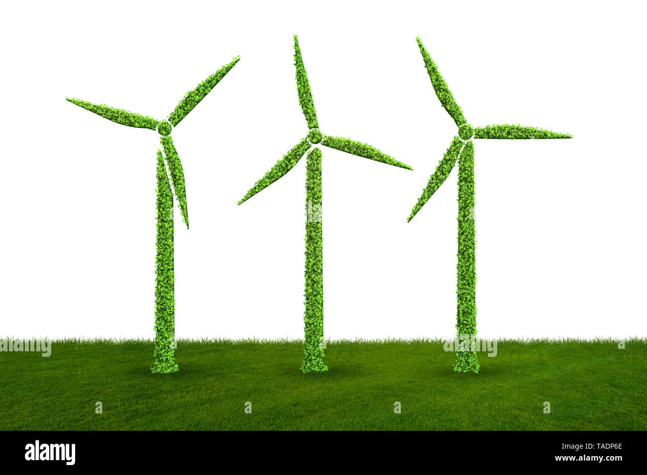 Windmills in ecological power generation and production concept - 3d rendering - Stock Image