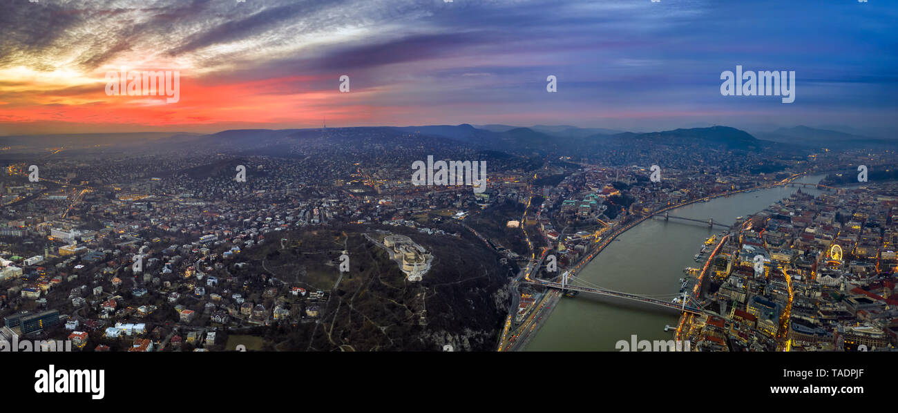 Budapest, Hungary - Aerial panoramic skyline view of Budapest from above with Citadel, Gellert Hill, Elisabeth and Szechenyi Chain Bridge and Buda Cas - Stock Image