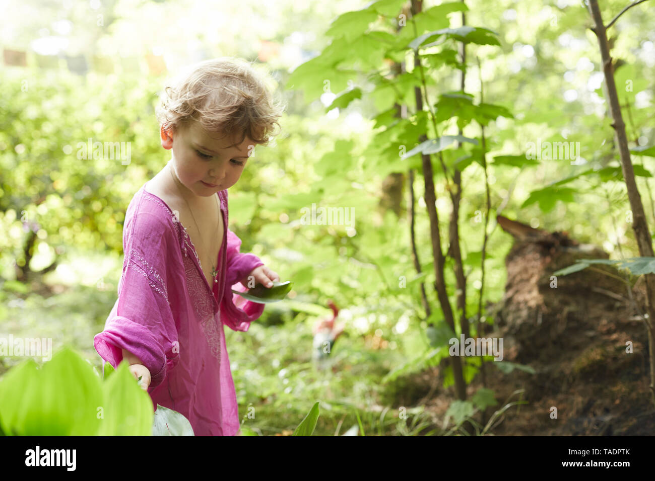 Little girl wearing pink tunic in nature - Stock Image