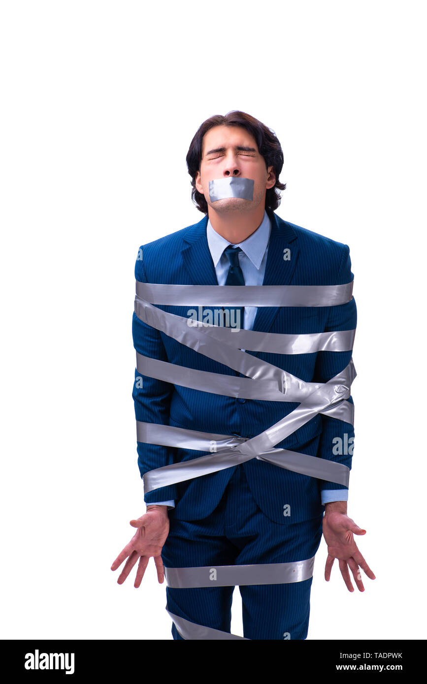 Tied employee with tape on mouth isolated on white - Stock Image