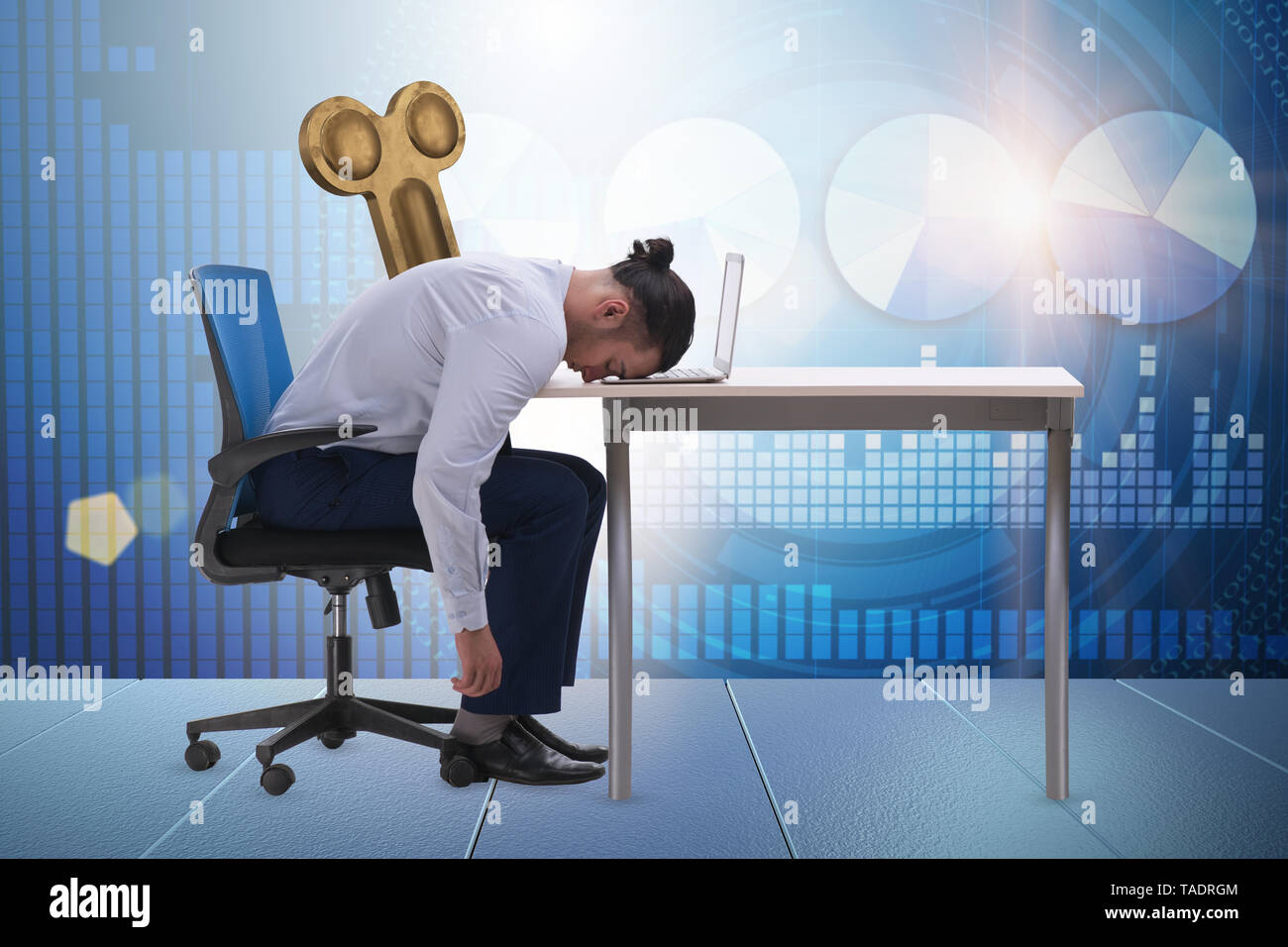 Employee losing energy from too much work - Stock Image