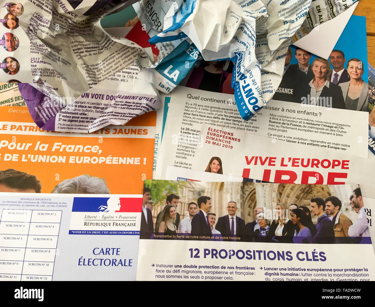 French voting card and electoral material, Lyon, France