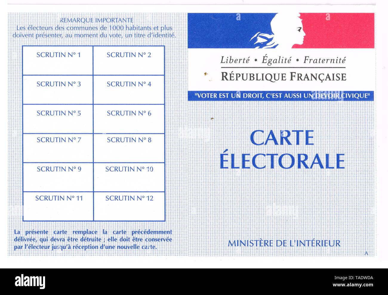 French Voting Card Lyon France Stock Photo 247397062 Alamy