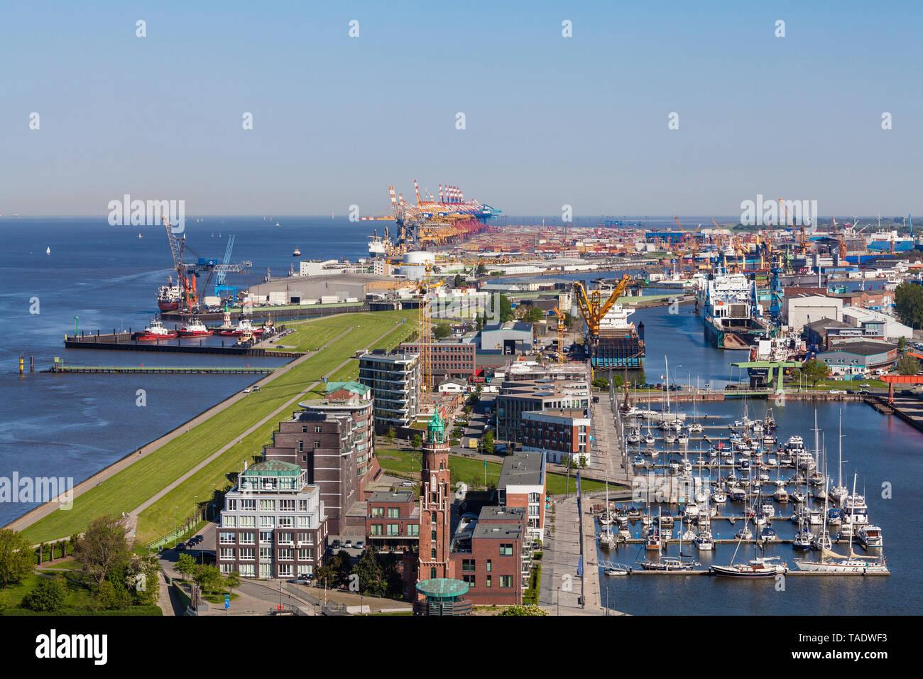 Germany, Bremen, Bremerhaven, New Harbour, Weser dike - Stock Image