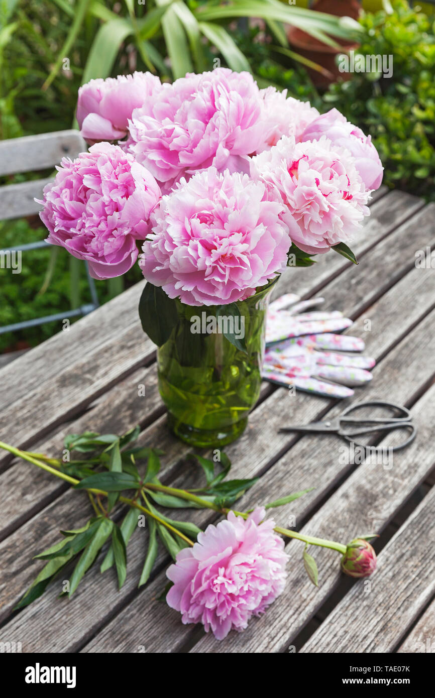 Peony bouquet in vase on garden table - Stock Image