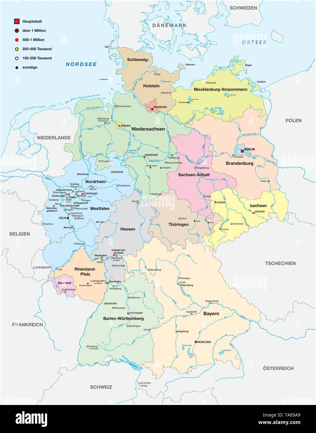 map of germany with all cities over one hundred thousand ...