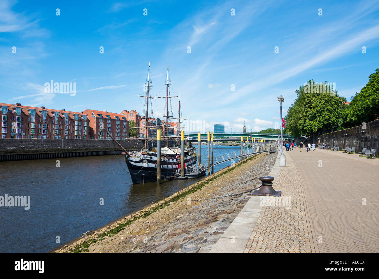 Germany, Bremen, Admiral Nelson sailing boat, restaurant ship on the Weser river - Stock Image