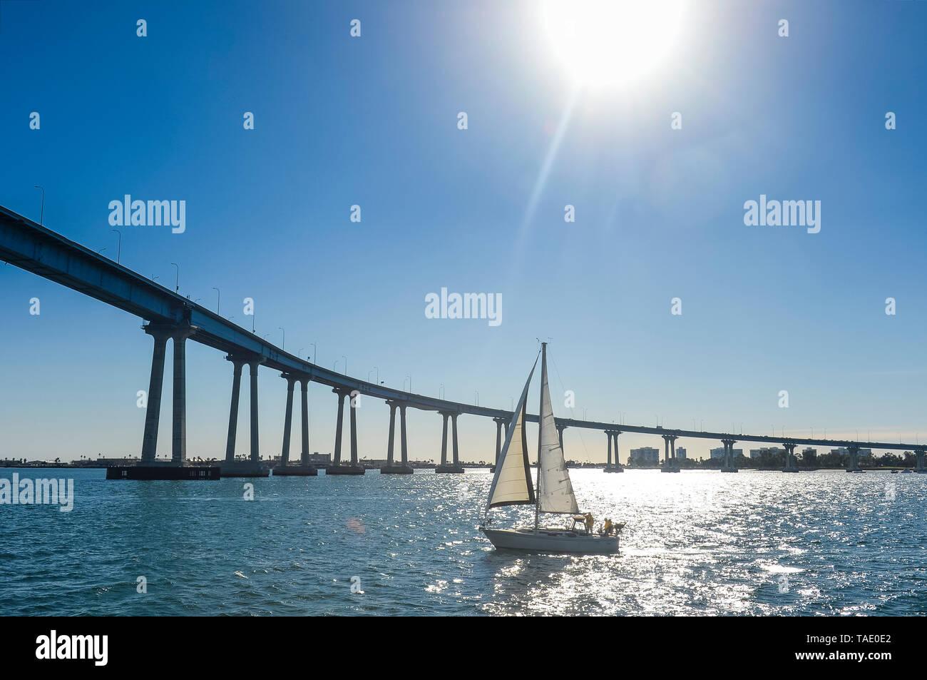 USA, California, San Diego, Harbour, Coronado bridge - Stock Image