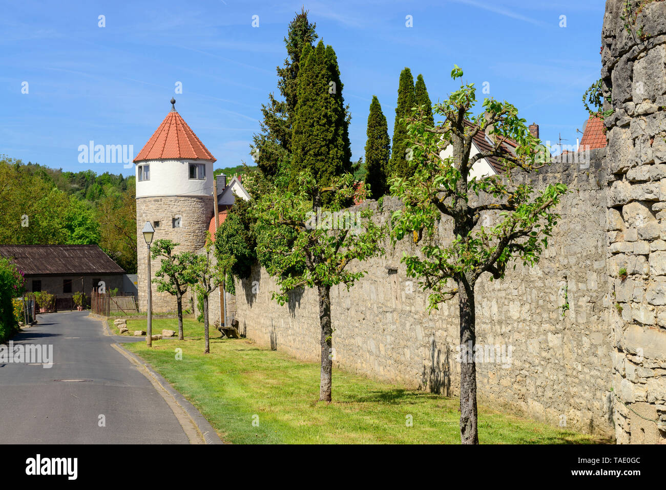 Germany, Bavaria, Franconia, Lower Franconia, Eibelstadt, city wall with tower - Stock Image