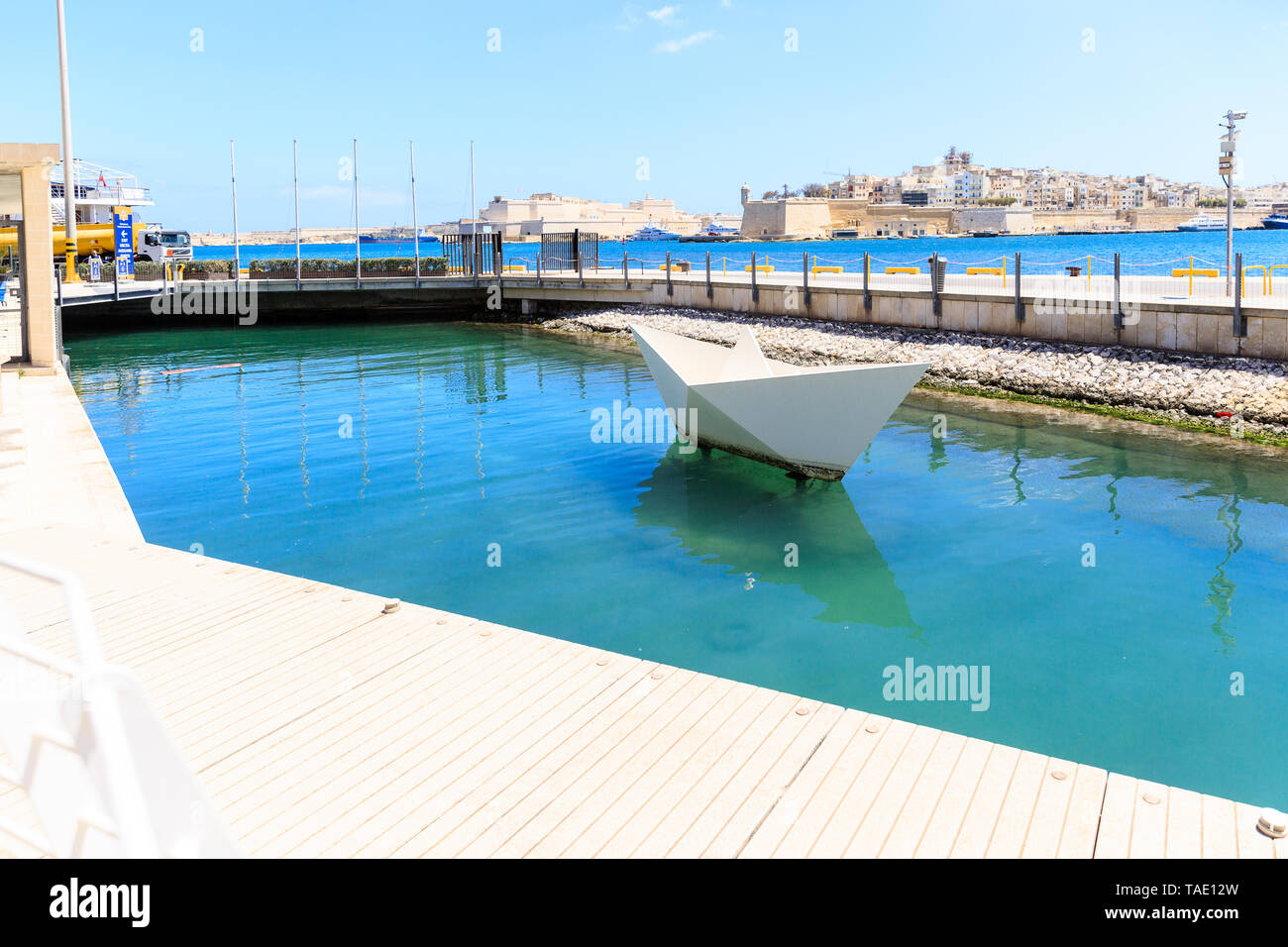 HUGE PAPER SHIP in the Valletta Waterfront, Saint Angel fort - Stock Image