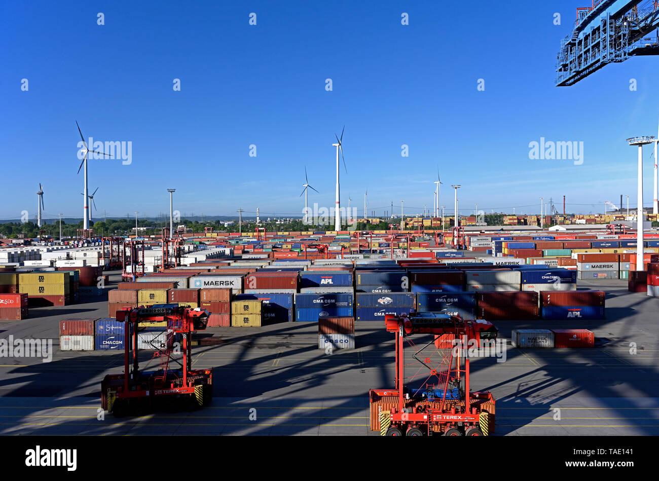 port of hamburg, germany - 2019.05.13:  panoramic view onto eurogate container terminal predöhlkai waltershof - Stock Image