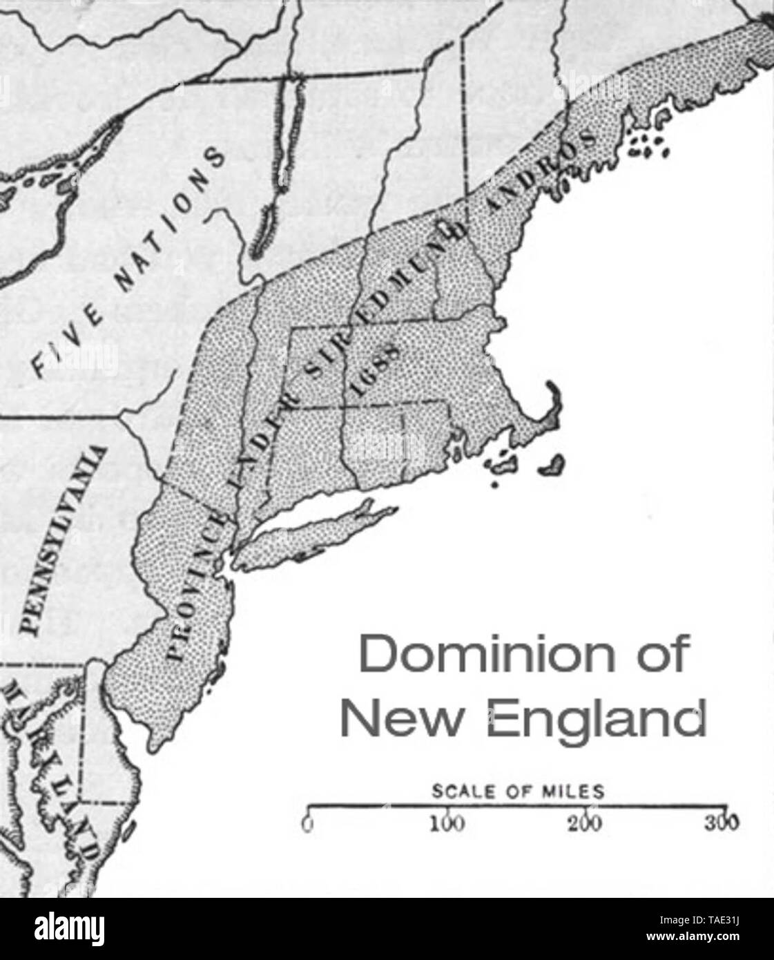 Map of The Dominion of New England, ruled over by Sir Edmund Andros, from 1686-1689, during the rule of James II.   Ended by the Glorious Revolution, when the Puritans revolted, overthrew, and arrested Andros, and then his Lieutenant Governor, Francis Nicholson was overthrown in Leisler's Rebellion.  This map is of the territory in 1688, and is from a book called Historical Collections, published in 1922 - Stock Image