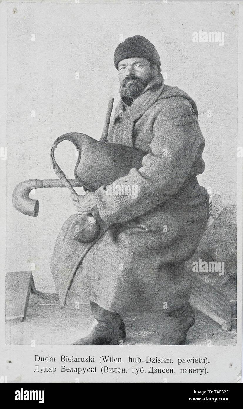 Belorussian bagpiper Russian empire Vilno region - Stock Image